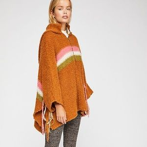 NEW FREE PEOPLE Desert Sunrise Hooded Poncho XS S